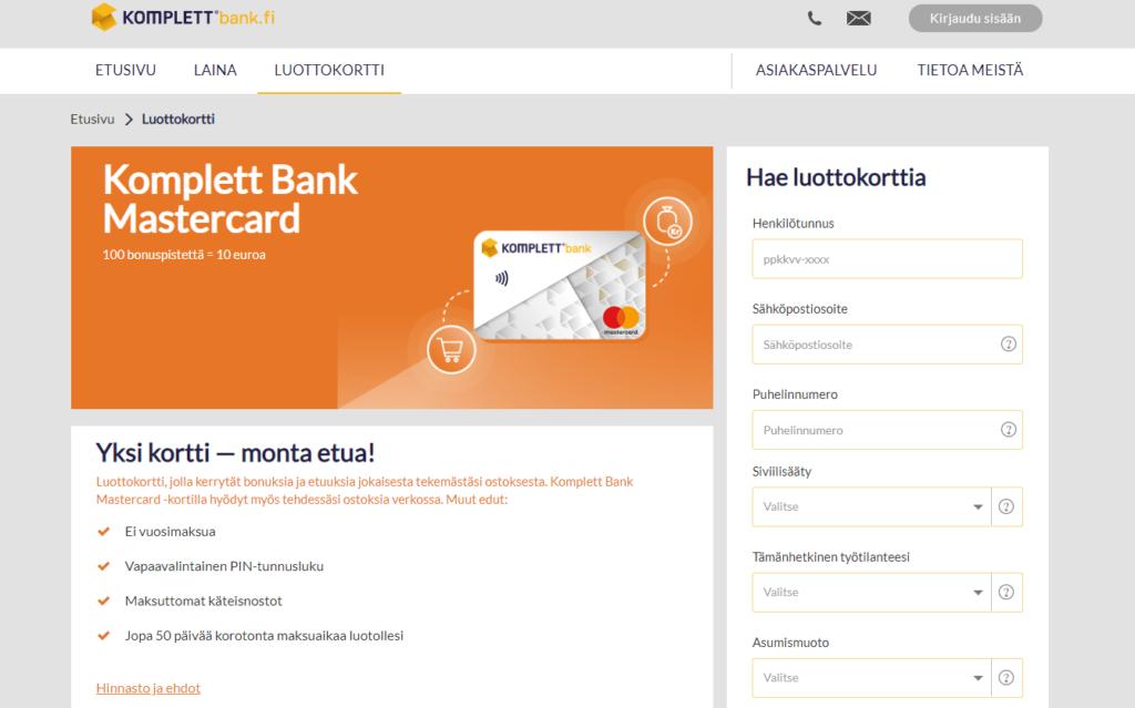 Kuva Komplett Bankin luottokorttihakemuksesta