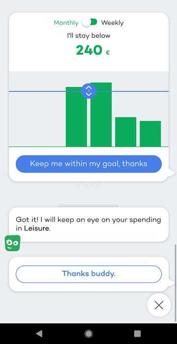 Screenshot Sprii -applikaation säästötavoite toiminnosta