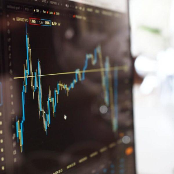 Osakemarkkinoiden kaavio ja osinkokalenteri tietokoneen näytöllä